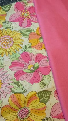 Light Yellow w/ Big Pink & Yellow Flowers w/ pink solid.