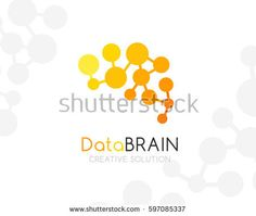 Digital brain logo template. Yellow colors. Conceptual icon for innovation startups, communication business, education projects.