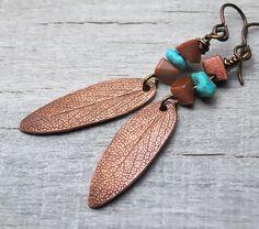 Copper Leaf Earrings  Sage Leaf with Goldstone by PrairieCoastArt