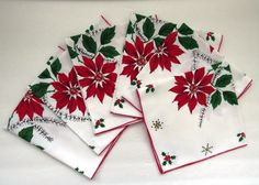 Vintage Christmas Napkins - Set of 6 - Red Poinsettias Green Holly Berries - Holiday Decor - Vintage Table Linens by shabbyshopgirls on Etsy