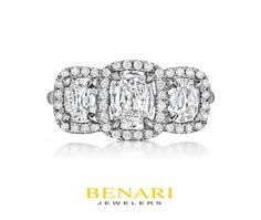 Henri Daussi engagement ring from the Daussi Cushion collection - three stone ring - white gold - cushion halo - round diamond - modern