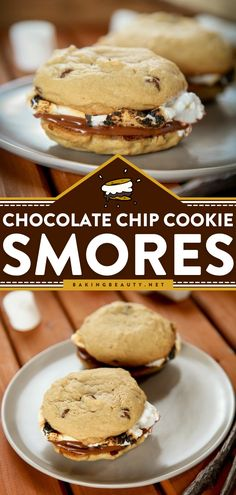 Chocolate Chip Cookie Smores start with gooey marshmallow and creamy chocolate sandwiched between two chewy chocolate chip cookies! This easy cookie recipe is a great summertime dessert for the fam minus the campfire! Easy Chocolate Desserts, Chewy Chocolate Chip Cookies, Homemade Chocolate, Easy Desserts, Delicious Desserts, Chocolate Recipes, Easy To Make Cookies, Homemade Cookies, Yummy Cookies
