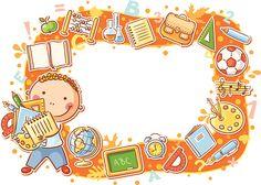 Cartoon Frame with School Objects vector art illustration