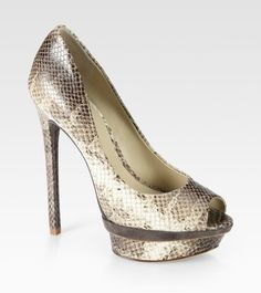 B BRIAN ATWOOD  Florencia Snake-print Leather and Suede Platform Pumps