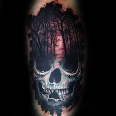 Skull With Forest Mens Arm Tattoo