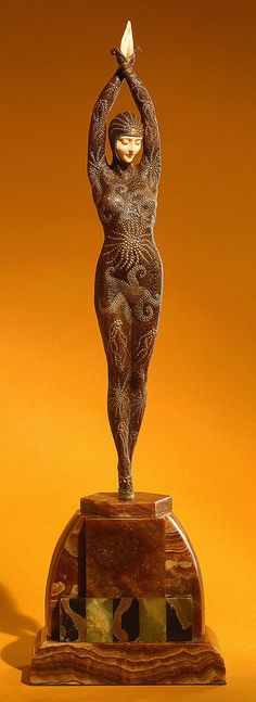 "Figure, ""Octopus Lady"", ca. 1925, France Sculpted by Demetre Chiparus -- one of my favorite smaller sculptures of all times."