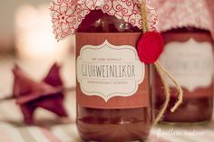 Rezept für herrlich würzigen Glühweinlikör + Free Printable Xmas, Christmas, Yummy Food, Yummy Recipes, Presents, Crafty, Drinks, Bottle, Diy