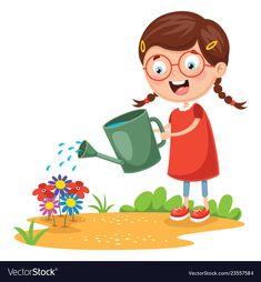 Of kid farmer Royalty Free Vector Image - VectorStock Preschool Charts, Preschool Science, Preschool Worksheets, Drawing For Kids, Art For Kids, Good Habits For Kids, Islam For Kids, Bottle Cap Art, Toddler Learning Activities