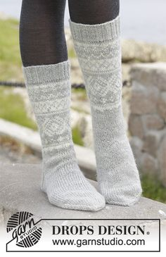 "Knitted DROPS socks with Norwegian pattern in ""Karisma"". Crochet Socks, Knitted Slippers, Wool Socks, Slipper Socks, My Socks, Knit Crochet, Knitted Hats, Knitting Patterns Free, Free Knitting"