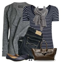 """""""Navy Striped Mango T-Shirt"""" by daiscat ❤ liked on Polyvore featuring Abercrombie & Fitch, Golden Goose, Call it SPRING and Kate Spade"""
