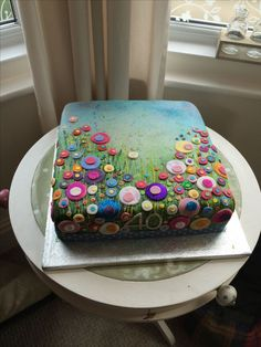 birthday cake, flower cake, Yvonne Coomber Cake, painting, - Food and drink - Torten Pretty Cakes, Beautiful Cakes, Amazing Cakes, Fondant Cakes, Cupcake Cakes, Decors Pate A Sucre, Airbrush Cake, 40th Birthday Cakes, Men Birthday