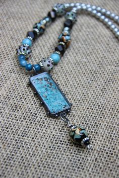 Turquoise Cold Enamel Necklace by purpleartlove on Etsy, $45.00