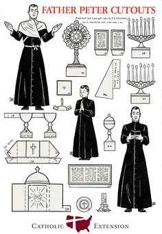 Free Vintage Catholic Paper Doll Printables to color! Father Peter Catholic Cutout set, 1943.  8 pages with altar, Church items, vestments, etc.