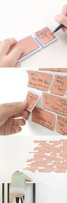brick sticky notes