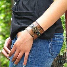 Hey Ladies..... Steampunk  Leather Wrist Wallet Cuff with Secret Pocket - Distressed Brown