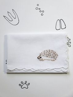 Animal Hedgehog Embroidered Handkerchief Gift by wrenbirdarts    Inexpensive, thoughtful gift, woodland animal, hand embroidery