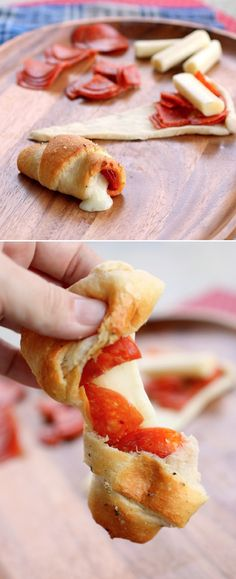 Crescent roll pizzas!! These would be super cute for a party!!!!