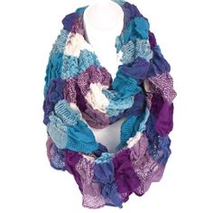 Infinity Loop Figure-Eight Blue Purple Mix Crinkled Wool Wrap Scarf Checkered