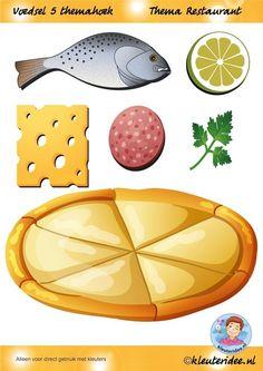 Voedsel 5 themahoek, thema restaurant, juf Petra van kleuteridee.nl, Restaurant role play,food,  free printable