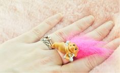Vintage Retro 80s 90s Russ Pink Cupid Valentines Troll Doll Ring Jewellery Jewelry Toy Collectible