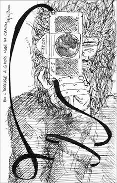 Gerald Ligonnet - tbe photographer, black & white drawing.  #art #drawing #illustration #blackandwhitedrawing
