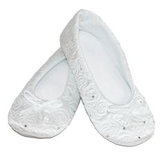 BeltOutlet.com - Isotoner Women's Terry Lined Rose Quilted Ballerina Slippers