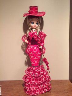 "Vintage Large 22"" Big Eye BRADLEY Doll in Red Lace Victorian Dress w parasol Kor #Dolls"