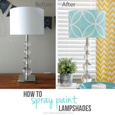 Lampshade Decorating - Using a stencil to spray paint the exterior found on thecreativemom.com - Plaster & Disaster