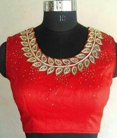 22 Graceful Pics of simple thread work blouse & Saree designs Stone Work Blouse, Hand Work Blouse, Best Blouse Designs, Bridal Blouse Designs, Blouse Neck Designs, Blouse Patterns, Neckline Designs, Red Lehenga, Lehenga Choli