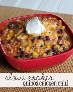 Slow Cooker Quinoa Chicken Chili Recipe This is SO GOOD. I took out the corn, and was going to add celery, but my slow cooker was too full, so I'll try that next time. Thm Recipes, Slow Cooker Recipes, Soup Recipes, Cooking Recipes, Healthy Recipes, Dinner Recipes, Cooking Tips, Recipies, Chili Recipes