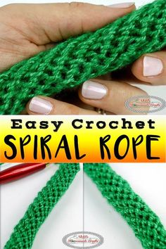 Learn how to crochet a Spiral Rope, Tube or Cord using this easy to crochet tutorial. It uses simple single crochet and can be used for bag handles. This crochet spiral rope tutorial is very detailed and is the easiest crochet rope pattern. Crochet Cord, Crochet Video, Crochet Instructions, Easy Crochet, Tutorial Crochet, Crochet Geek, Beginner Crochet, Crochet Bag Tutorials, Crochet Beanie