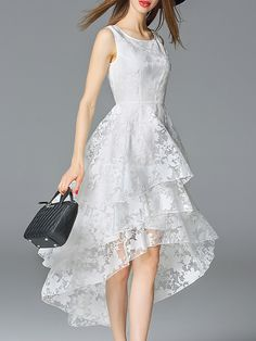 Crew Neck Beach Sleeveless Floral Organza Midi Dress - I think this would make a lovely wedding dress for a less formal setting - maybe on the beach even. Elegant Midi Dresses, Casual Formal Dresses, Hi Low Dresses, White Midi Dress, Simple Dresses, Cheap Dresses, Cute Dresses, Beautiful Gowns, Beautiful Outfits