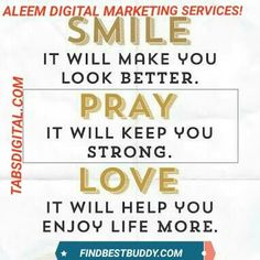 Lighten up, just enjoy life, smile more, laugh more, and don't get so worked up about things.  Happy #Sunday!   ALEEM DIGITAL MARKETING SERVICES!   http://tabsdigital.com  http://findbestbuddy.com