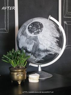 17 Galatic DIYs Your Star Wars Obsessed Kid Will Be Begging You To Make. An awesome Death Star chalkboard globe 17 Galatic DIYs Your Star Wars Obsessed Kid Will Be Begging You To Make. You can't escape it.Star Wars mania is unleashed. Geek Decor, Decoracion Star Wars, Star Wars Zimmer, Deco Gamer, Star Wars Bedroom, Geek Bedroom, Star Wars Room Decor, Bedroom Decor, Bedroom Boys