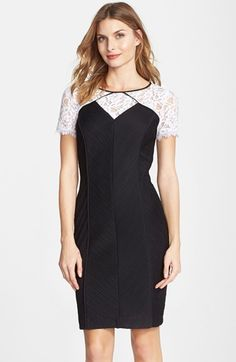 Nue by Shani Lace & Ottoman Knit Sheath Dress available at #Nordstrom