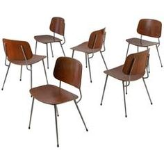 Borge Mogensen Set of 6 Rare Plywood and Stainless Steel Dining Chairs, Denmark