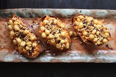 Twice-Baked Sweet Potatoes with Curried Puffed Grains and Theo Cocoa Nibs