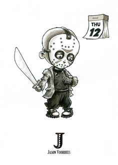 J is for Jason Voorhees (Friday - Tiny Creatures Alphabet (by David G. Art Drawings Sketches, Cartoon Drawings, Cartoon Art, Cute Drawings, Halloween Drawings, Halloween Art, Jason Voorhees Drawing, Jason Drawing, Miki Mouse