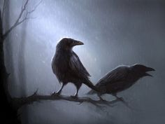 """@John G  Huginn and Muninn, ravens associated with the Norse god Odin.  In Norse mythology, Hugin and Munin travel the world bearing news and information they have collected to Odin. Hugin is """"thought"""" and Munin is """"memory""""."""