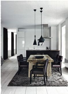Copenhagen apartment: Dining Room with Tom Dixon Beat Lights Style At Home, Elle Decor, Style Deco, Decoration Inspiration, Rustic Table, Wood Table, Timber Table, Deco Design, Design Art