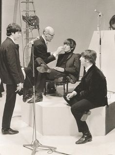 The Beatles on the set of A Hard Day's Night, 1964