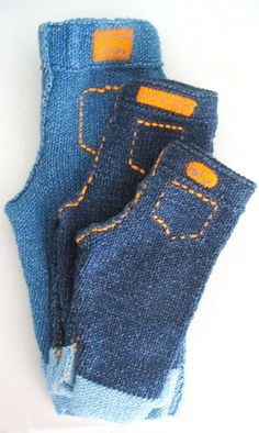 Knitty: KNitted Baby Jeans - the most excellent jeans to put the tot in! Comfy, denim, and a free pattern into the bargain!