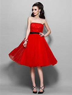 Free Measurements ! A-line Strapless Knee-length Tulle And S... – USD $ 127.49