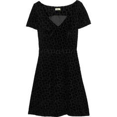 Issa Puzzle velvet dress featuring polyvore, fashion, clothing, dresses, black, black dress, kohl dresses, loose fitting black dress, black mesh panel dress and black velvet dress