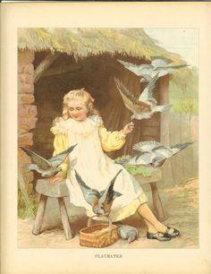 Edwardian 1900s Ernest Nister Antique Childrens Print  Blonde Haired Girl Sitting Wooden Bench Feeding Pigeons Wicker Basket Book Plate