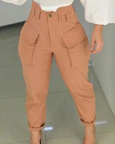 Shop High Waist Pocket Design Cargo Casual Pants right now, get great deals at Chiquedoll Fall Fashion Trends, Autumn Fashion, Fashion Ideas, Trending Fashion, Romper Dress, Bodycon Dress, Ruffles, Pantalon Cargo, Fashion Outfits