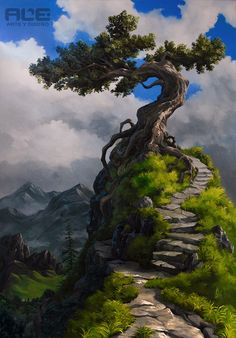 Only The Beginning Of The Adventure by DanteFitts on DeviantArt Forest Landscape, Fantasy Landscape, Landscape Art, Landscape Paintings, Fantasy Art, Chinese Landscape Painting, Environment Concept Art, Nature Wallpaper, Tree Art