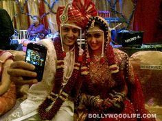Actors Riteish Deshmukh and Genelia D'Souza had a traditional wedding. Here are some pictures of the couple and also Bollywood celebs.
