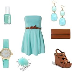 tiffany blue outfit put together amazingly with brown leather