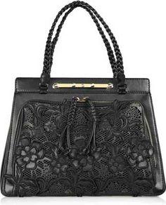 valentino leather and lace handbag